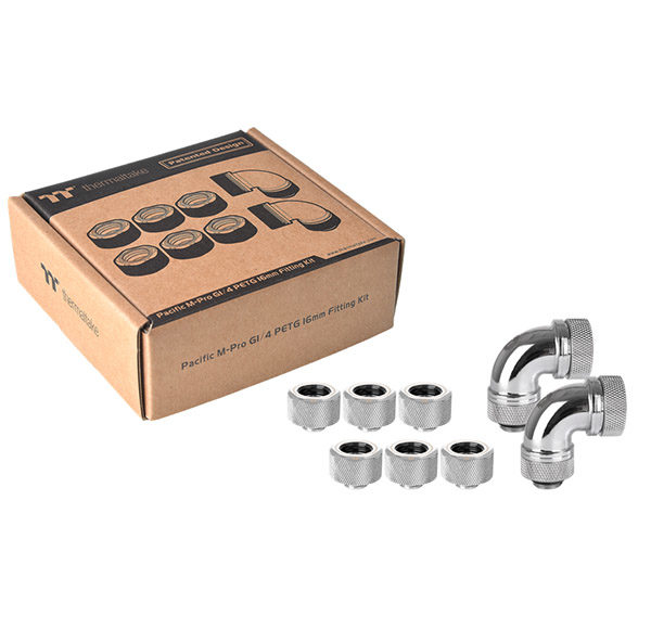 Pacific M-Pro G1/4 PETG 16mm Fitting Kit- Chrome
