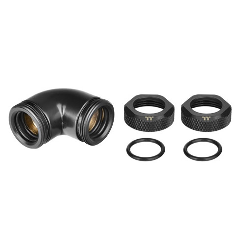 Pacific G1/4 PETG Tube 90-Degree dual compression 12mm OD – Black
