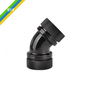 Pacific PETG Tube 45-Degree Dual Compression 16mm OD - Black