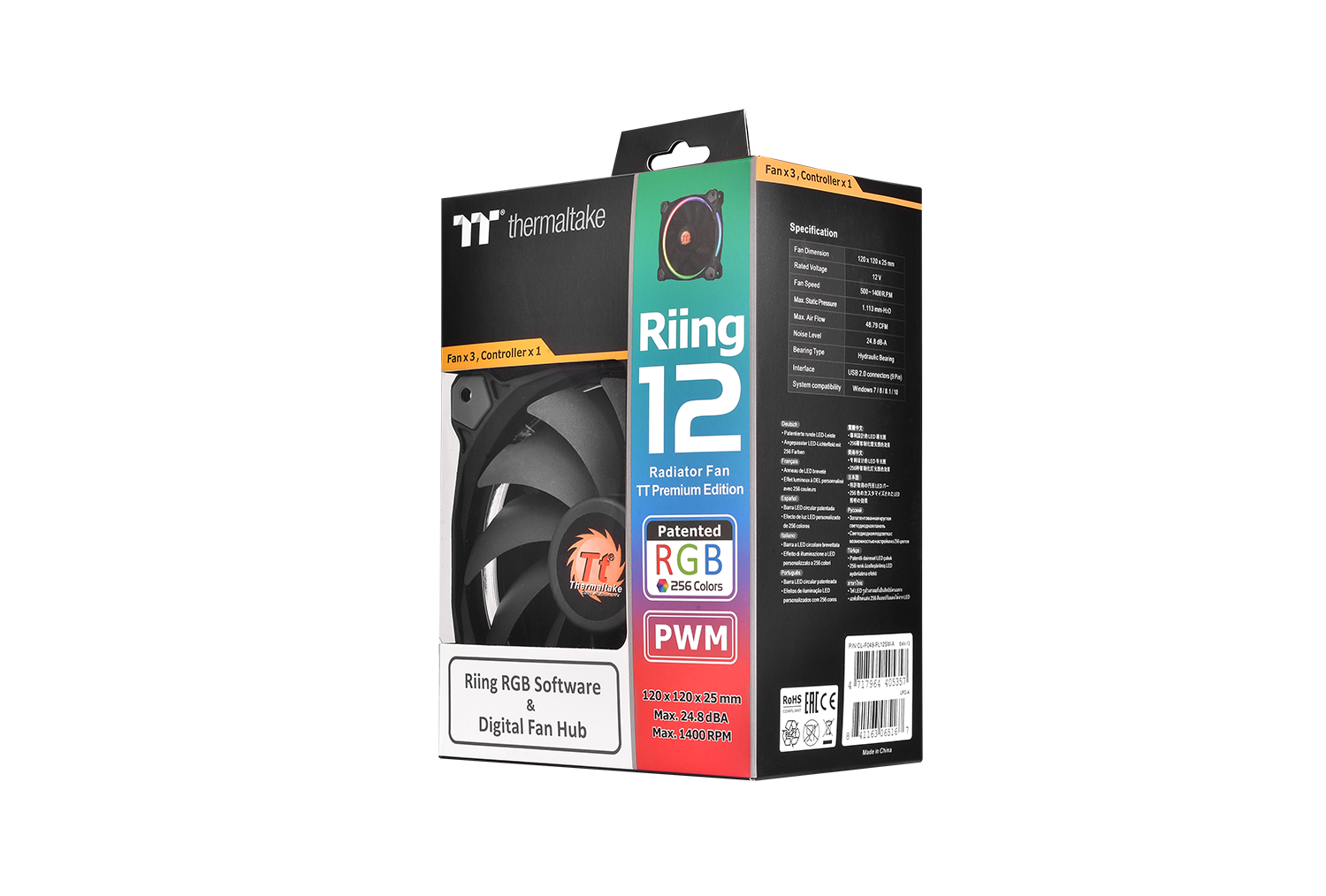 Riing 12 Led Rgb Tt Premium Edition 3 Fan Pack Ttpremium Create Secondary Colors From Multicolored Leds Edn Cl F049 Pl12sw A 19