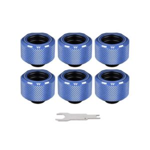 Pacific C-PRO G1/4 PETG Tube 16mm OD Compression – Blue (6-Pack Fittings)